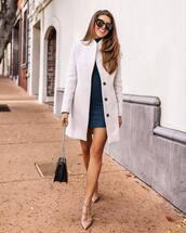 dress,turtleneck dress,mini dress,pumps,black bag,white coat,black sunglasses