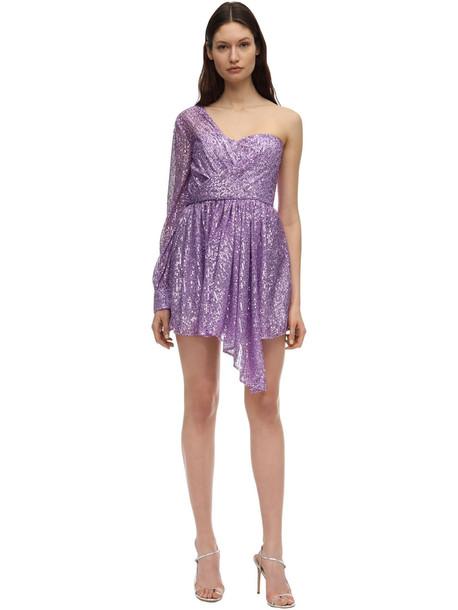 AMEN Sequined Mini Dress in lilac