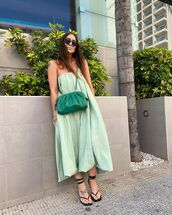 dress,midi dress,green dress,black sandals,crossbody bag