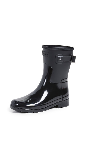 Hunter Boots Refined Short Gloss Duo Boots in black