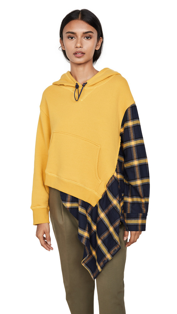Monse Flannel Cascade Hoodie in midnight / yellow
