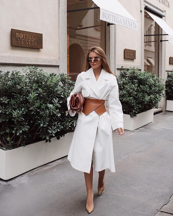 coat white coat long coat belt pumps handbag