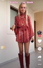 dress,red dress,long sleeve dress,jumpsuit