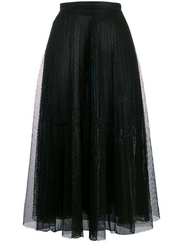 Marco De Vincenzo metallic midi skirt in black