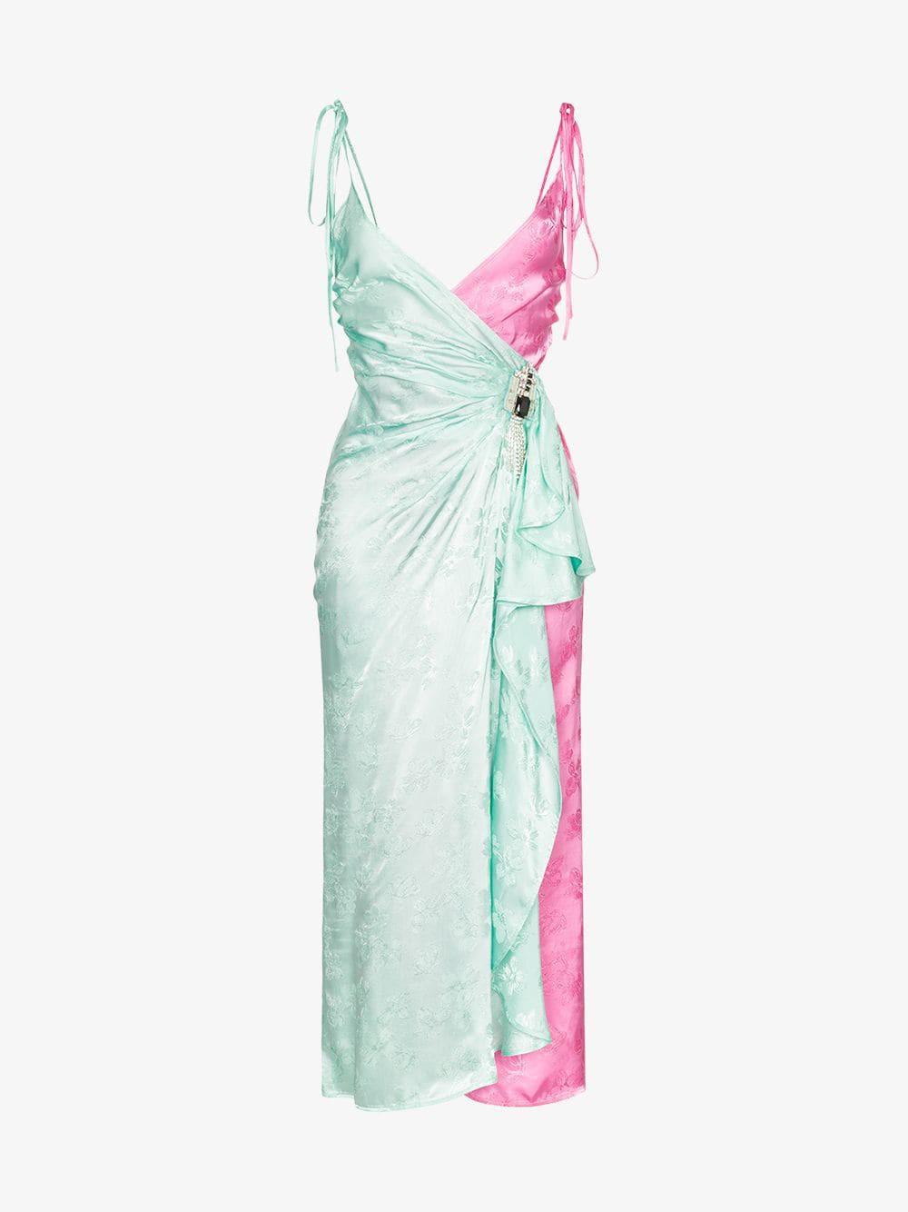 Attico two-tone jacquard wrap-around slip dress in mint