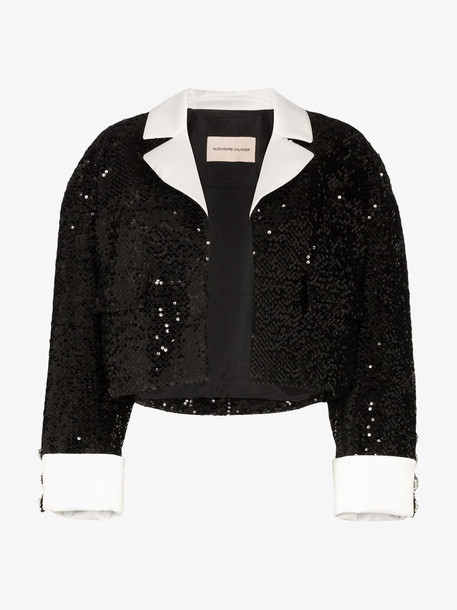 Alexandre Vauthier Sequinned cropped jacket in black