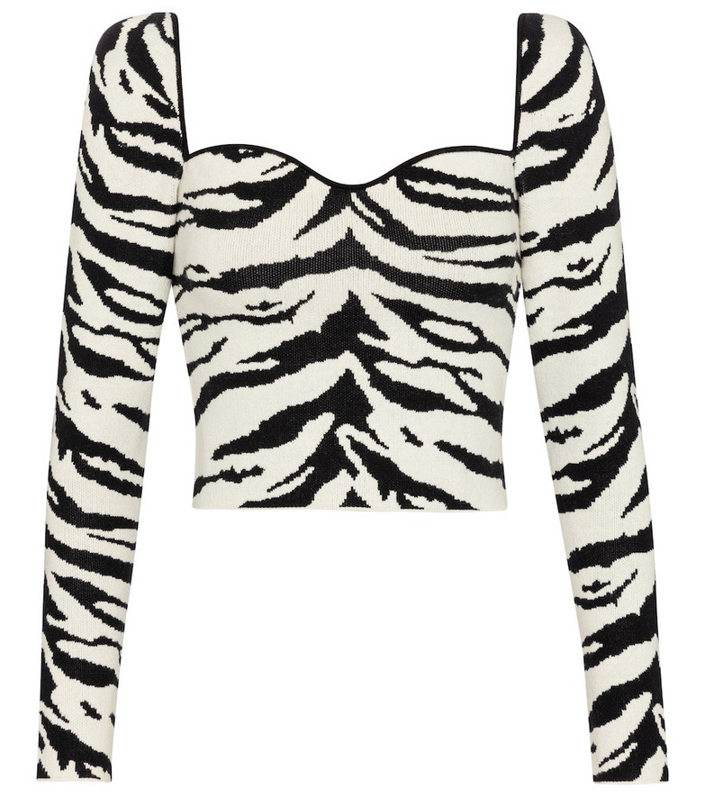 Self-Portrait Zebra-print cotton-blend crop top in black