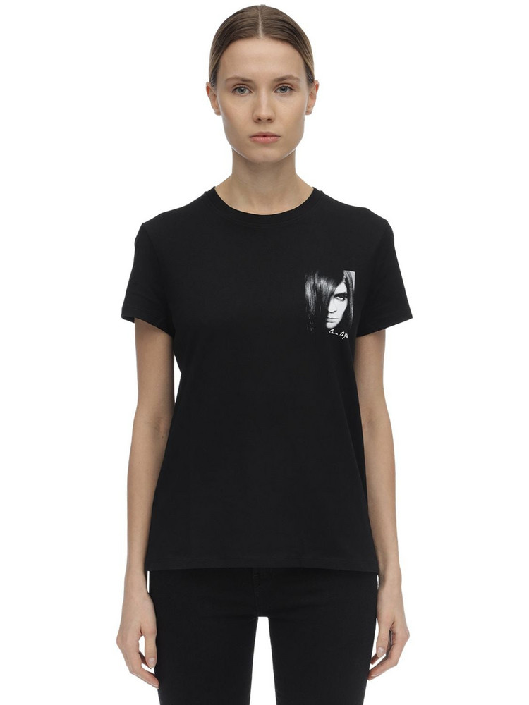 KARL LAGERFELD Carine Print Cotton Jersey T-shirt in black
