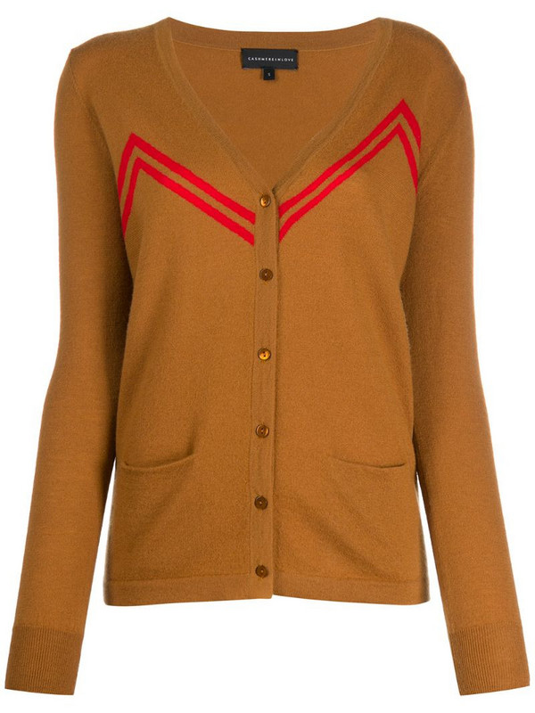 Cashmere In Love zigzag stripes cardigan in brown