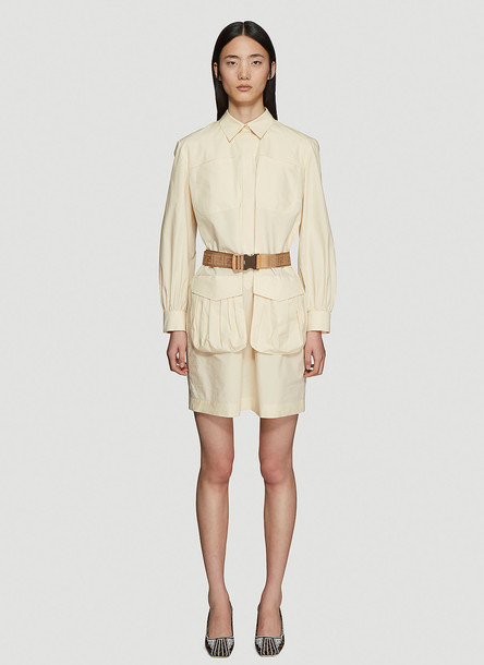 Fendi Abito Woven Logo Belt Shirt Dress in Beige size IT - 42