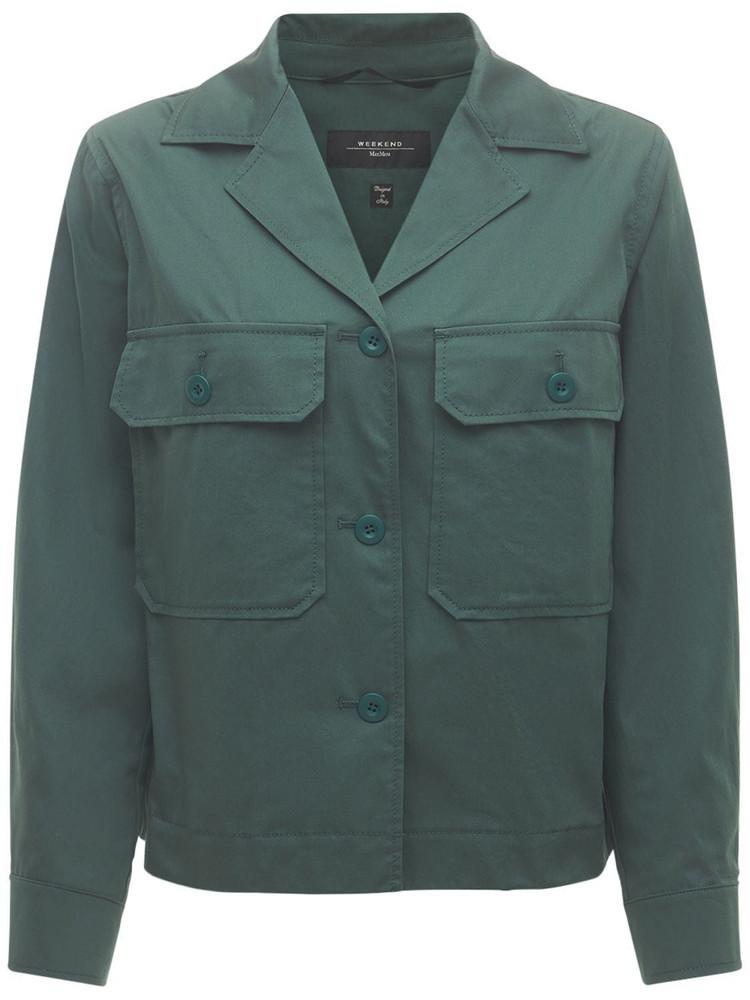 WEEKEND MAX MARA Cotton Safari Jacket W/ Front Pockets in green