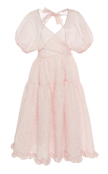 Cecilie Bahnsen Ammi Puff Sleeve Dress Size: 6 in pink