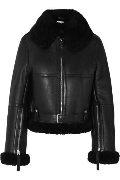 Acne Studios - Raf Leather-trimmed Shearling Jacket - Black