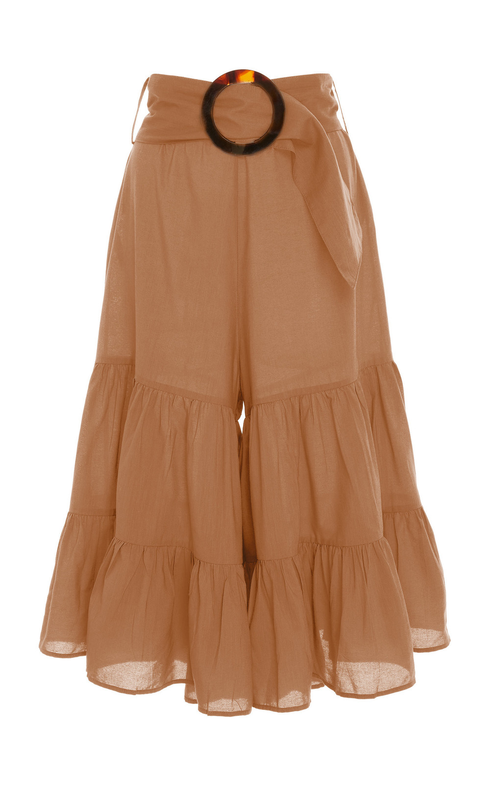 Adriana Degreas Belted Cropped Wide-Leg Pants in brown