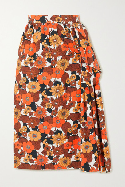Dodo Bar Or - Nora Ruffled Floral-print Cotton Midi Skirt - Brown