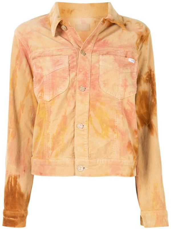 Mother tie-dye denim jacket in orange