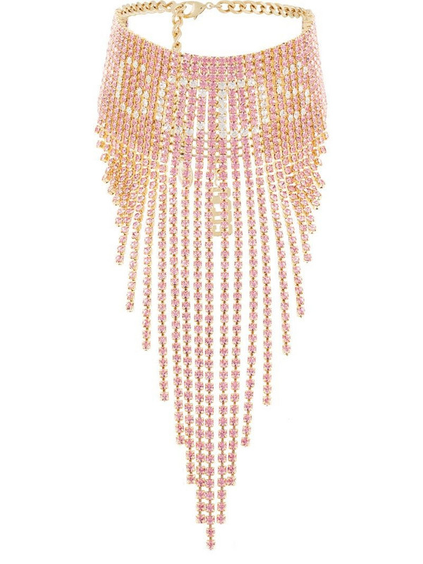 Gcds fringed-crystal choker in pink