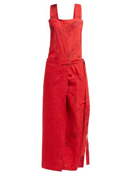 By Walid - Shirley 20th Century Embroidered Linen Dress - Womens - Red