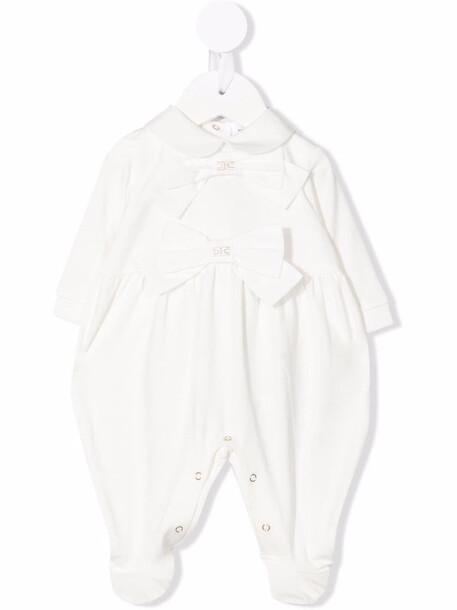 Elisabetta Franchi La Mia Bambina bow baby romper - White