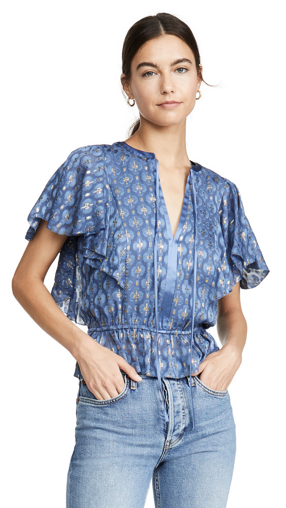Temperley London Suki Tie Blouse in denim / denim