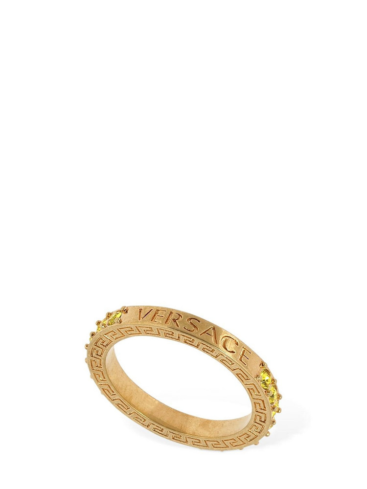 VERSACE Embellished Logo Ring in gold / yellow