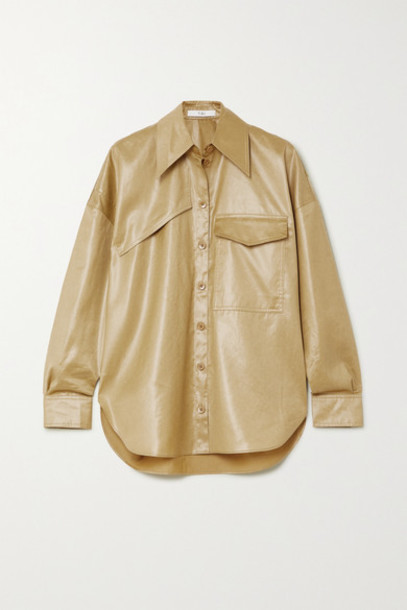 Tibi - Faux Leather Shirt - Beige