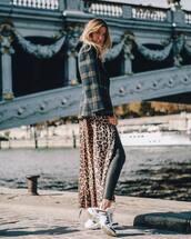 jacket,blazer,plaid,leopard print,cardigan,long cardigan,white sneakers,black leggings