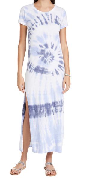 SUNDRY Short Sleeve Maxi Dress with Slit in navy / white