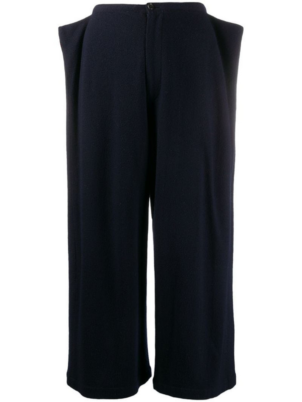 Comme Des Garçons Pre-Owned 1990s side-flap cropped trousers in blue