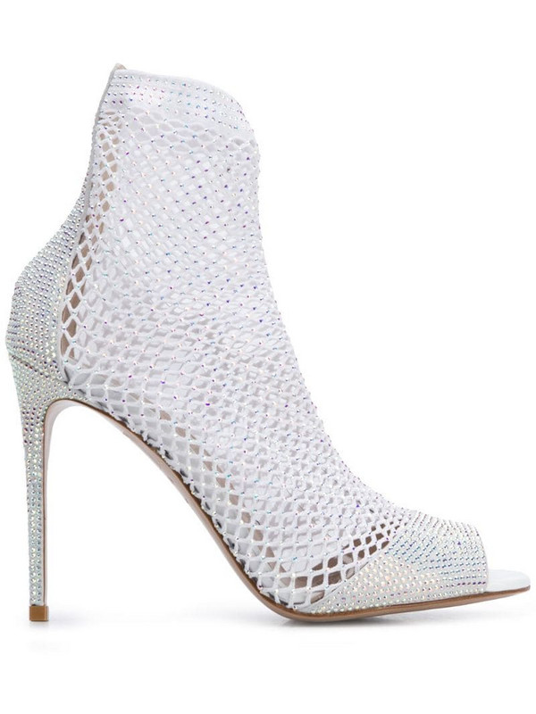 Le Silla Gilda mesh-sock sandals in white