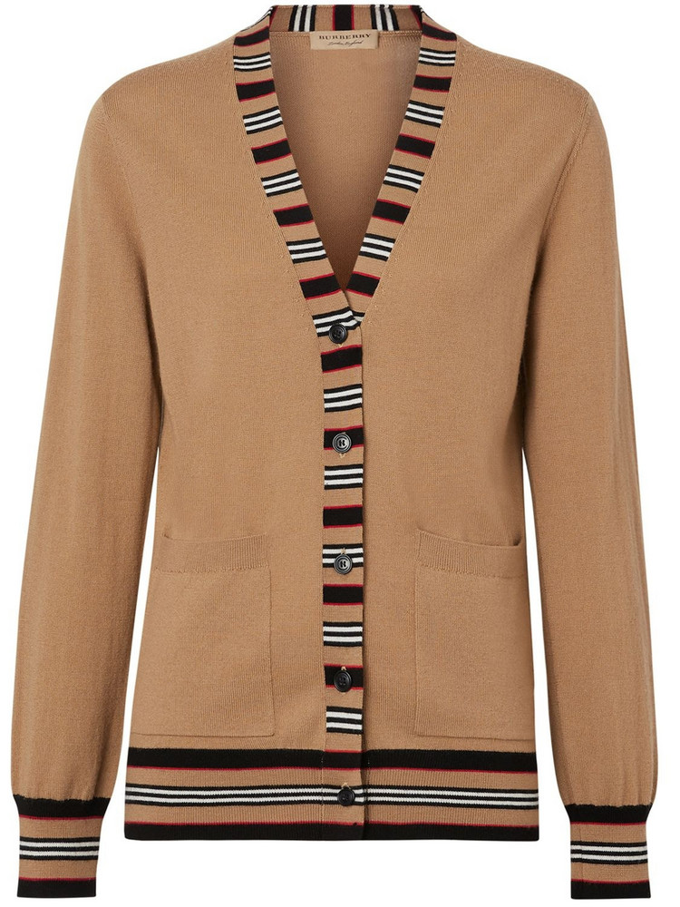 BURBERRY Cauca Merino Knit Cardigan W/ Stripe in beige