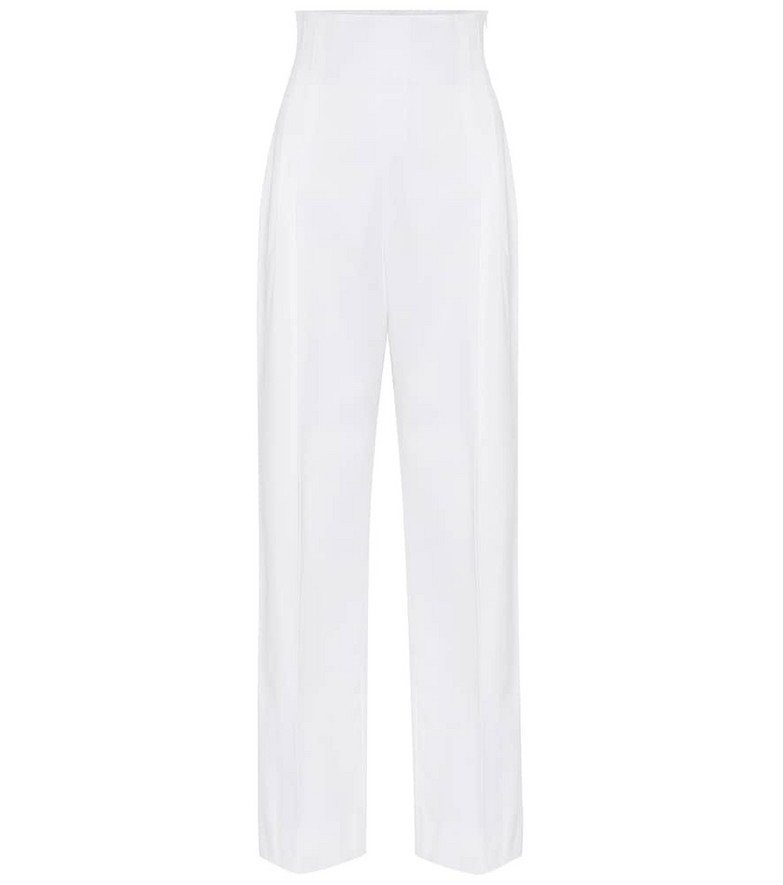Alaïa High-rise cotton straight pants in white