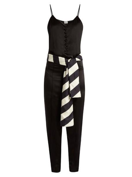 Hillier Bartley - Sleeveless Silk Satin Slim Leg Jumpsuit - Womens - Black
