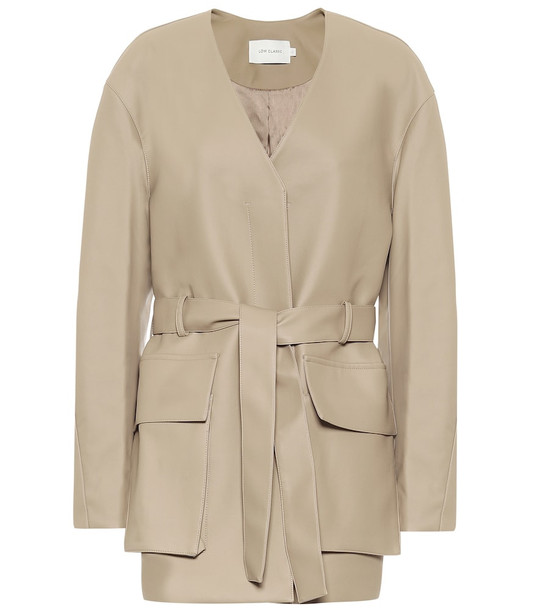 Low classic Belted faux leather jacket in beige