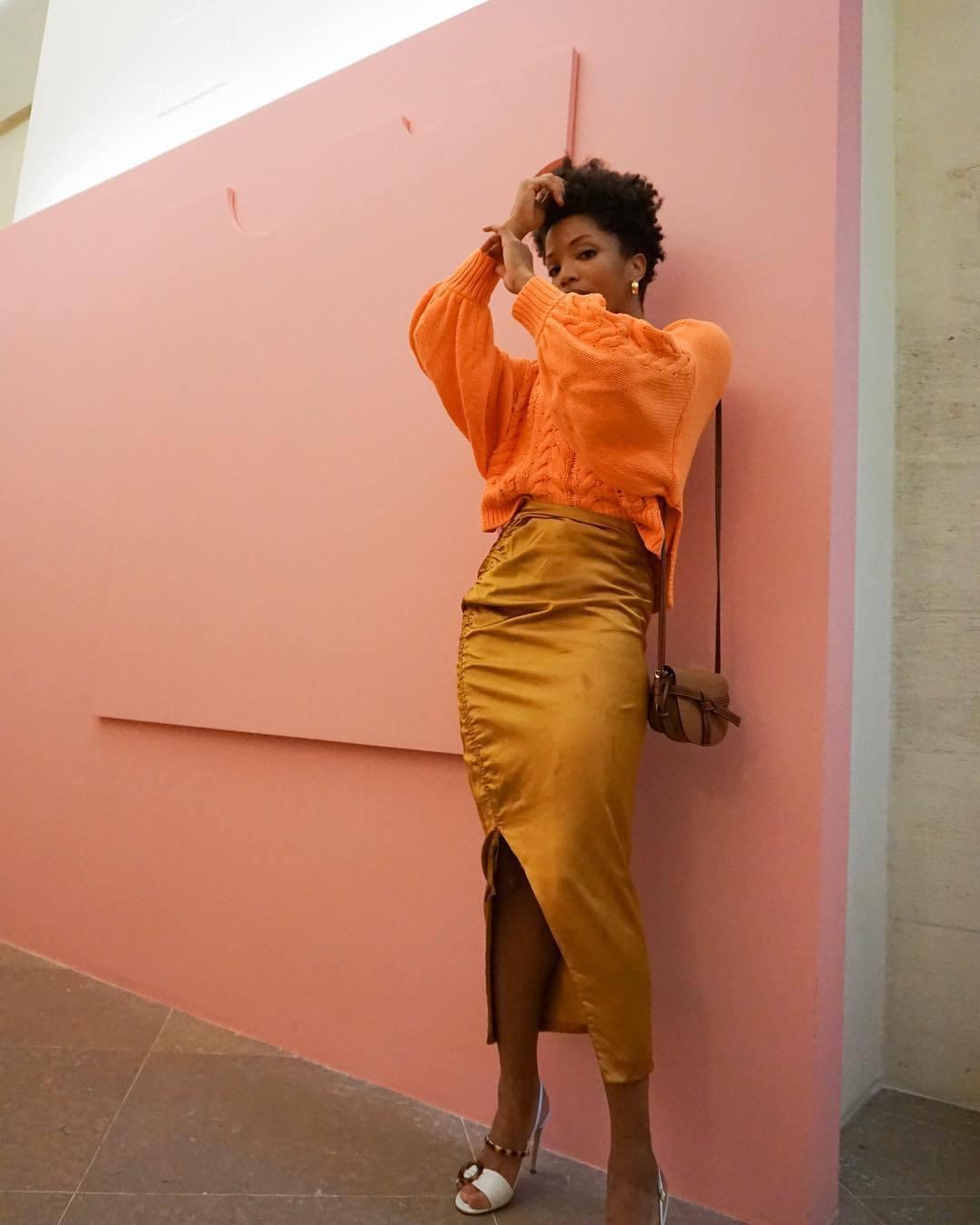 skirt midi skirt slit skirt high waisted skirt white sandals loewe bag orange sweater knitted sweater