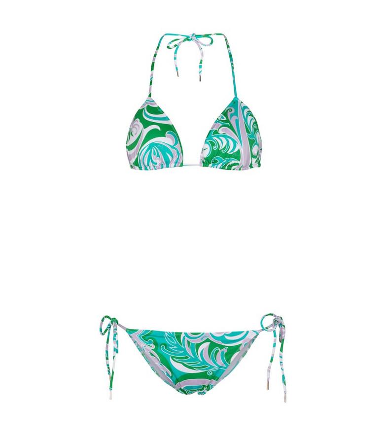 Emilio Pucci Beach Printed bikini in green