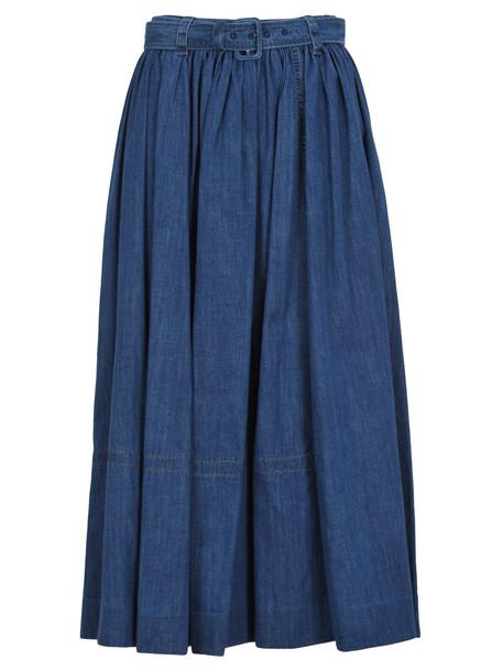 Prada Long Skirt in blue / denim