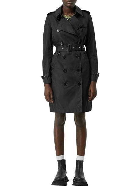 BURBERRY Kensington Hooded Nylon Trench Coat in black