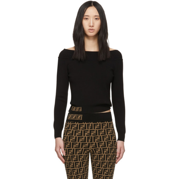 Fendi Black 'Forever Fendi' Off-The-Shoulder Sweater