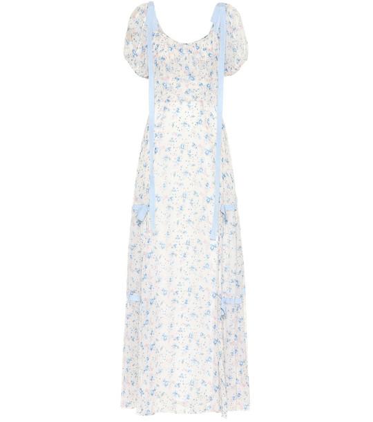 LoveShackFancy Jessie floral silk dress in white