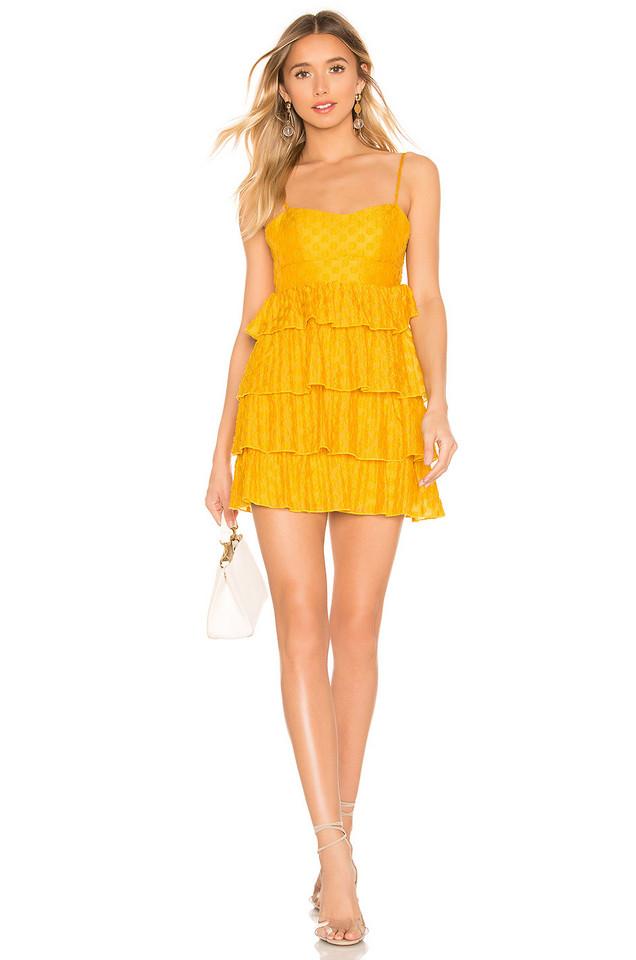 MAJORELLE Ruthanne Mini Dress in mustard