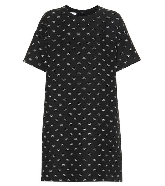 Valentino VLOGO wool and silk dress in black
