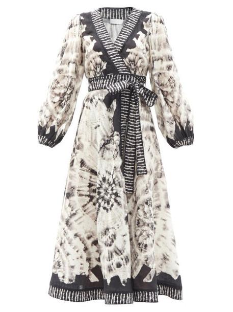 Zimmermann - Lulu Tie-dye Linen Midi Wrap Dress - Womens - Black White