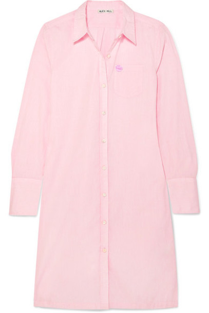 Alex Mill - Standard Shore Appliquéd Cotton-poplin Shirt Dress - Pink