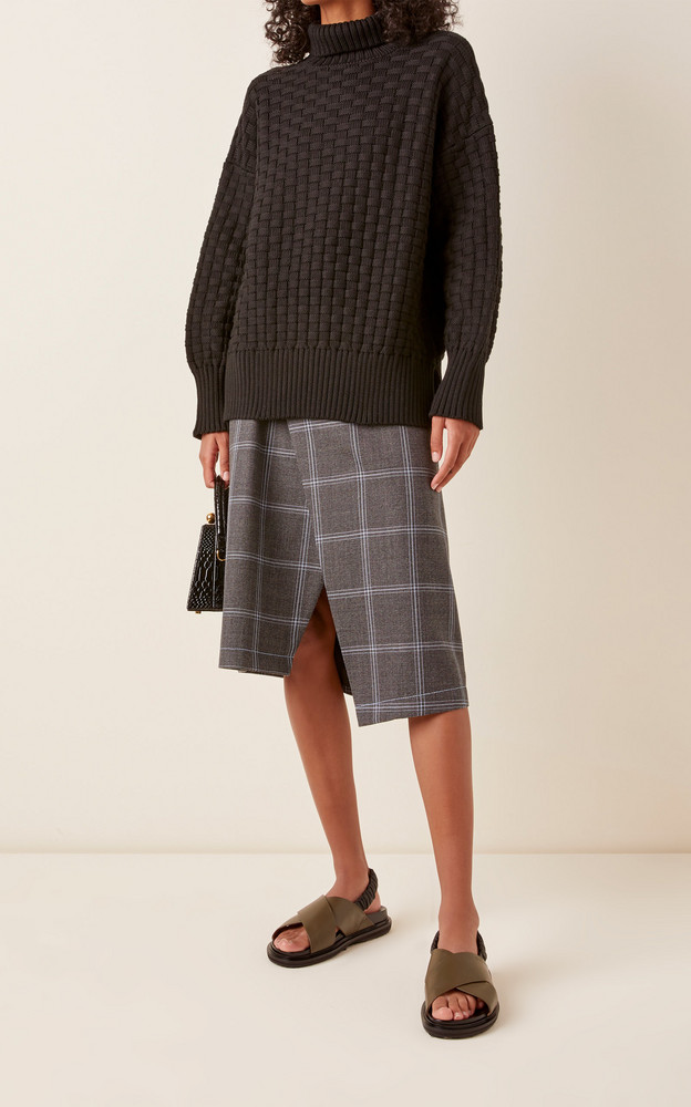 Rachel Comey Woven Rolled-Neck Pima Cotton Sweater in black