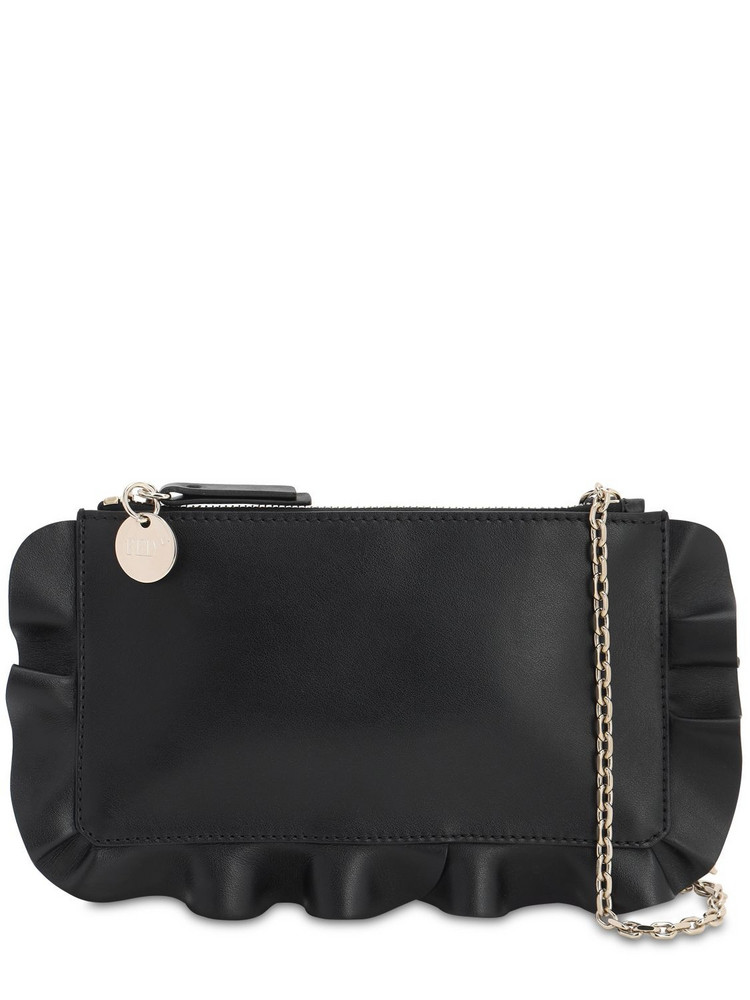RED VALENTINO Rock Raffle Leather Pouch in black