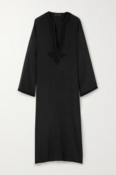 Nili Lotan - Julie Embroidered Silk-crepe Midi Dress - Black