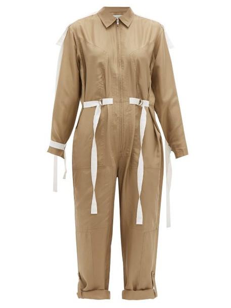 Lee Mathews - Judd Grosgrain Trim Silk Jumpsuit - Womens - Khaki
