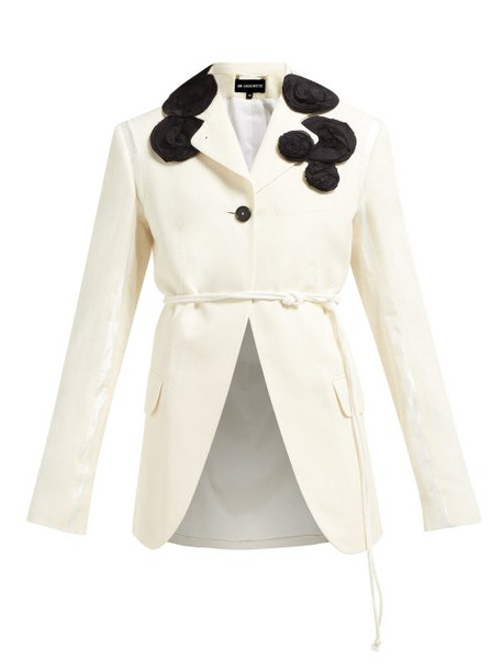 Ann Demeulemeester - Rose Appliqué Single Breasted Cotton Blazer - Womens - White Multi