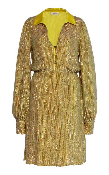 Temperley London Constellation Metallic Lurex Dress in green